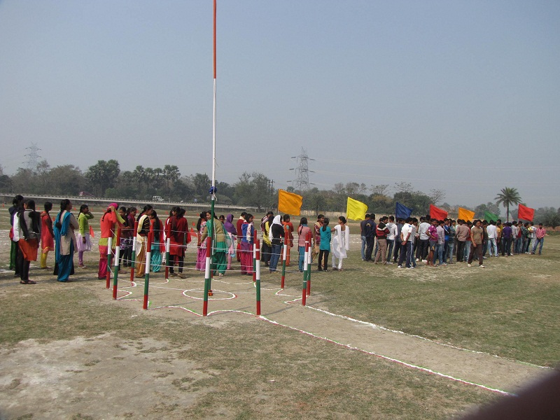 Students Are Proceeding To Inaugurate The Sports Session.